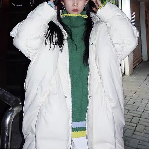 White Cocoon Down Coat with Faux Fur Hood Plume
