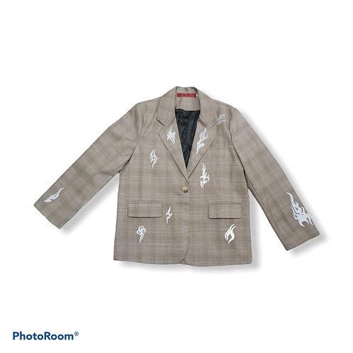 Flame checkered beige blazer