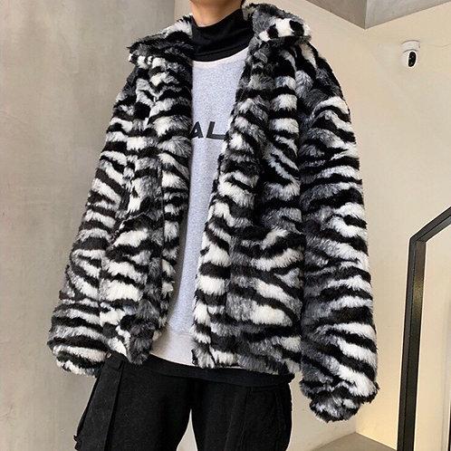 Extra Warm Black Tiger Print Faux Fur Jacket