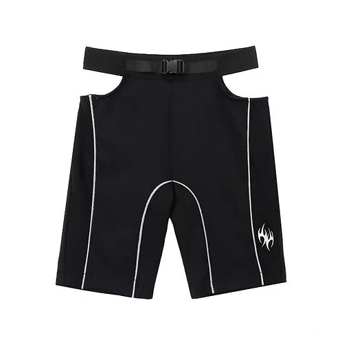 Black Cut Out Sports Shorts with 3M Reflective
