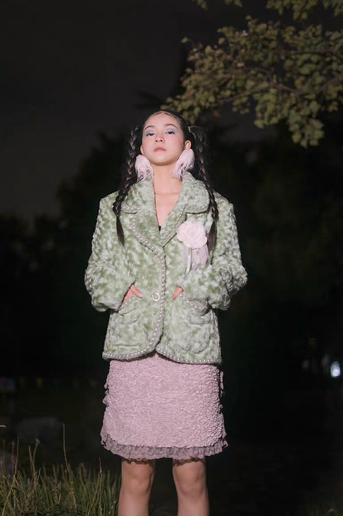 Light Pea Green Faux Fur Blazer with Pearls stud trim and Mesh Flower