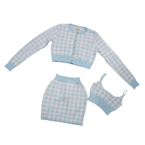 Blue checked cardigan, top and skirt set