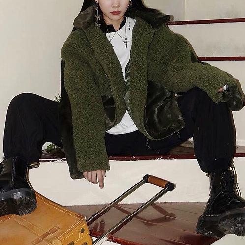 Green/Black Soft Fluffy Fleece Popover Jackets