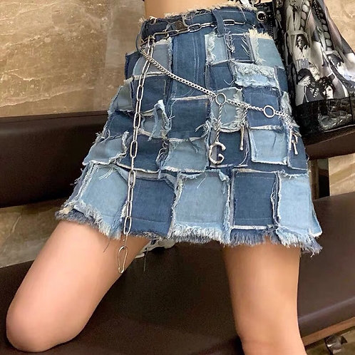 Patched Jeans Mini Skirt🧵