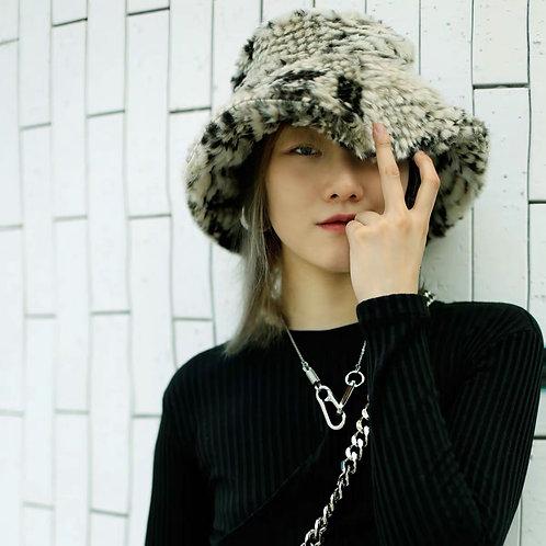 Snake Print Faux Fur Bucket Hat