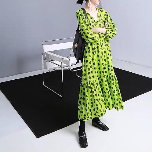 Neon Green Rose Print Dress