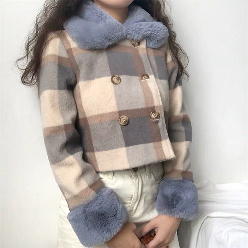 Checks Warm Jacket with blue faux fur Cuff and Collar