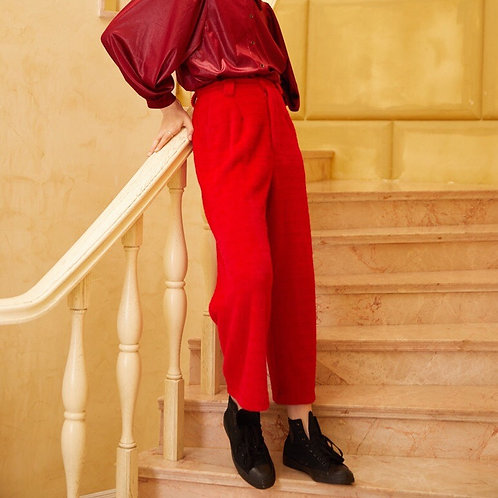 Unisex Red High Waist Straight Pants
