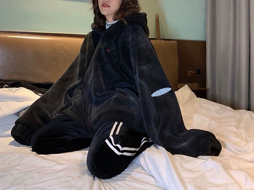 Black Unisex Oversized Soft Fluffy Jacket with Hoodie & Print