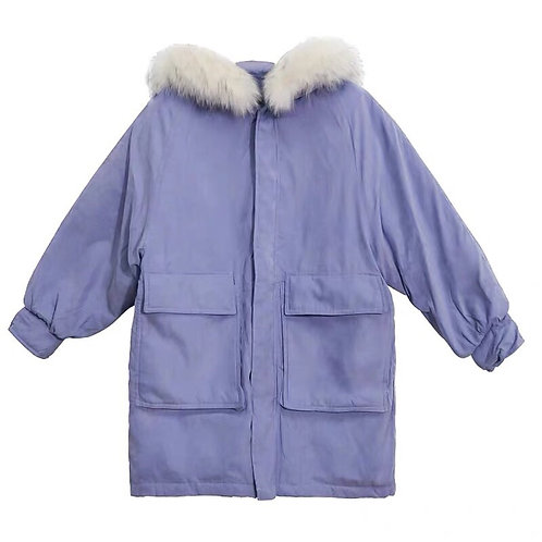 Purple Down Coat with Plume