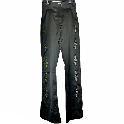 Black Flared Pants with Embroidery & Corset
