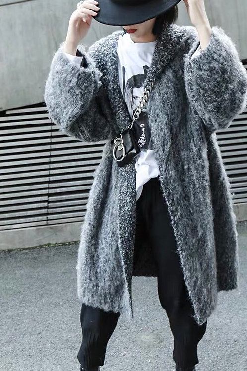 Grey Fluffy Knitted Coat