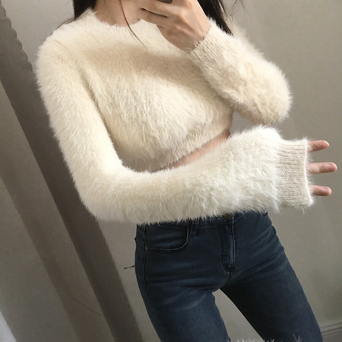Cream Cropped Super Comfy and Fluffy Sweater