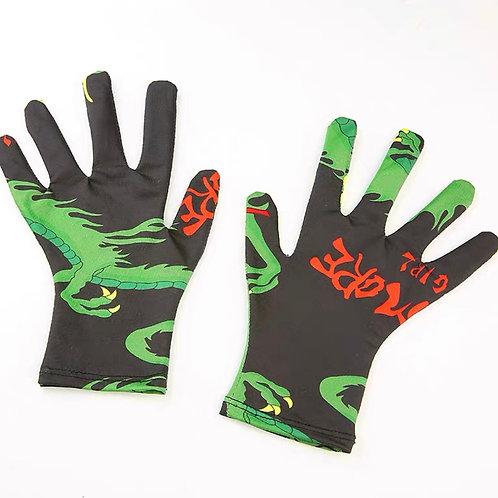 Black Mesh Gloves with Dragon Print