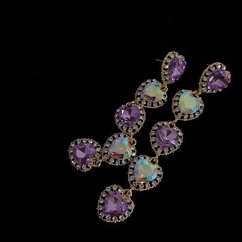 Purple Heart Diamond Earring