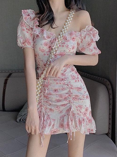 Flower Chiffon Dress with Drawstring