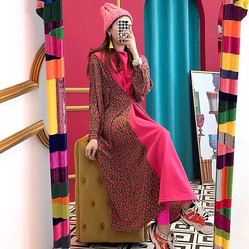 Red Long Sleeves Hooded Dress with Flower Print 🌺