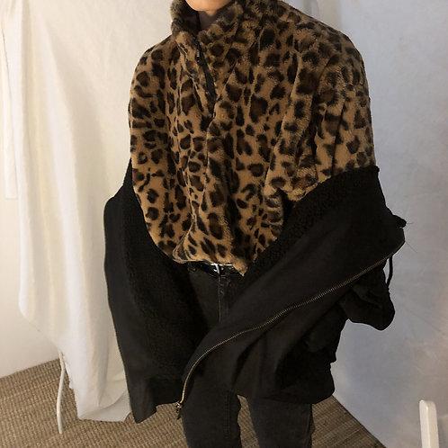 Unisex Leopard Print Jacket with Drawstring