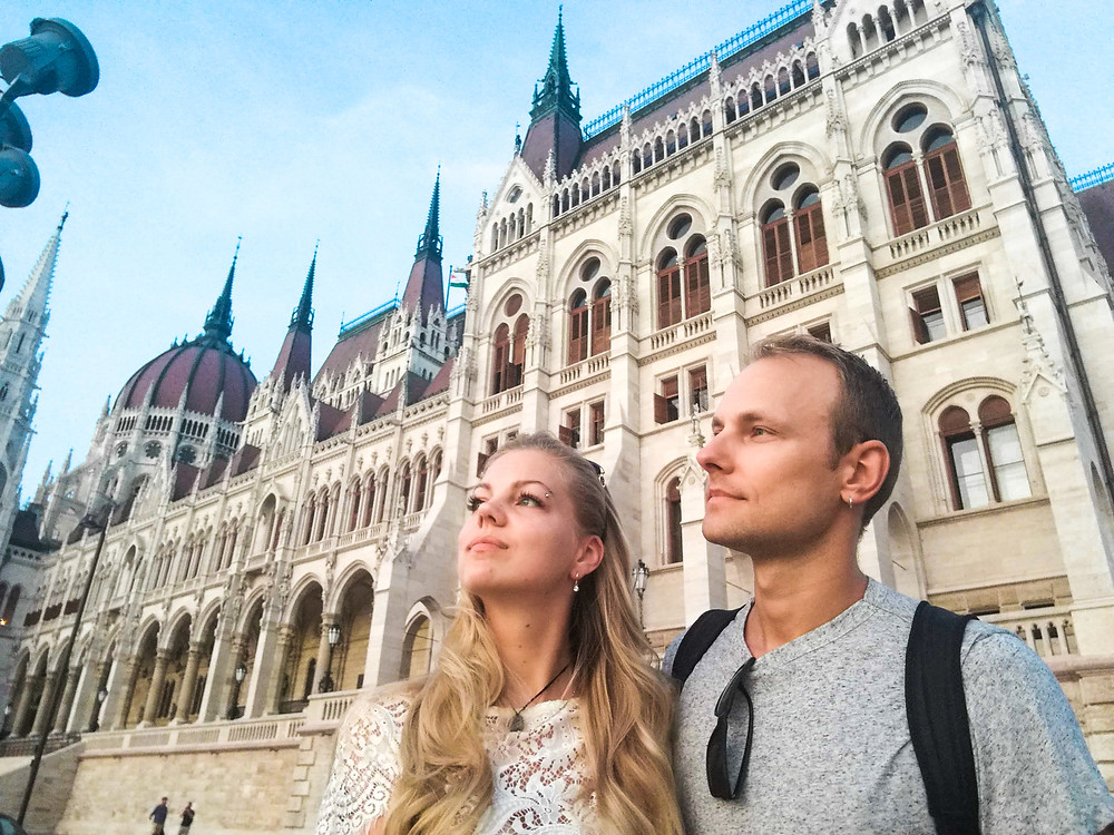 Couple by the Hungarian Parliament Building