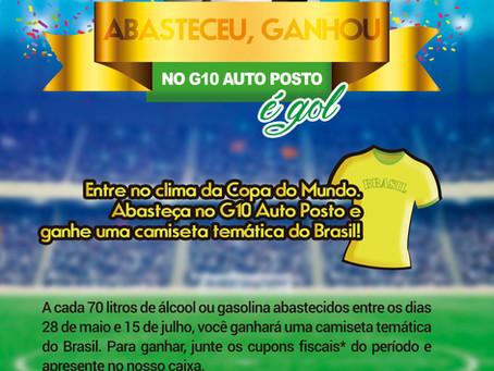 G10 Auto Posto presenteia clientes com camiseta temática do Brasil