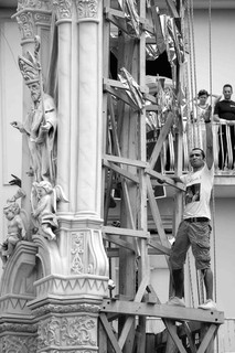 """The """"gigli"""" are wooden obelisks resembling lilies and ornated by paper-mâché artists. They are nearly 25 meters high."""