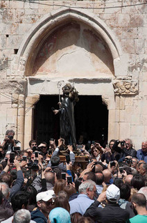 The statue of San Domenico is carried in procession through the streets of the medieval village.