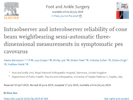 3D biometrics are reliable for measuring hindfoot alignment in pes cavovarus, a new study suggests