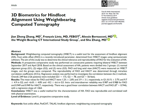 New publication: 3D Biometrics for Hindfoot Alignment Using Weightbearing Computed Tomography