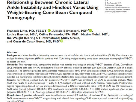 New Study Explores Relationship Between CLAI and Hindfoot Varus Using WBCT