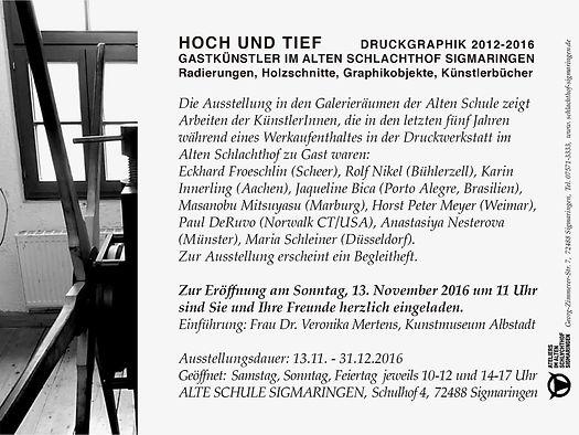 HOCH UND TIEF / Städtische GalerieAlteSchule Sigmaringen