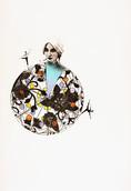 Serie » Ich tanze mit ihm « 2009, Linolschnitt und Nitrodruck auf Druckpapier, 73 x 53 cm, Unikat