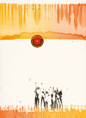 Serie » Ich tanze mit ihm « 2009, Linolschnitt, Monotypie und Nitrodruck auf Druckpapier, 73 x 53 cm, Unikat