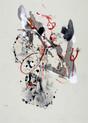» 向 4 (Die Richtung 4) « 2002, Monotypie auf Büttenpapier, 75 x 56 cm, Unikat
