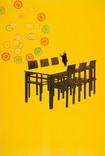Serie » Ich tanze mit ihm « 2009, Lithographie, Monotypie, Nitrodruck und Stempel auf Druckpapier, 73 x 53 cm, Unikat