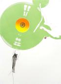 Serie » Ich tanze mit ihm « 2009, Siebdruck, Linolschnitt, Nitrodruck und Stempel auf Druckpapier, 73 x 53 cm, Unikat