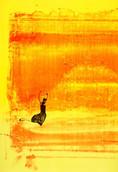 Serie » Ich tanze mit ihm « 2009, Lithographie, Monotypie und Nitrodruck auf Druckpapier, 73 x 53 cm, Unikat