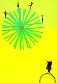 Serie » Ich tanze mit ihm « 2009, Lithographie, Linolschnitt, Nitrodruck und Stempel auf Druckpapier, 73 x 53 cm, Unikat