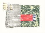 » untitled « 2012、リトグラフ、リノカット、手漉き紙、56 x 76 cm、Edition 4