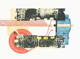 » Traffic « 2015, Lithographie, Linolschnitt und Materialdruck auf Büttenpapier, 56 x 76 cm, Aufl. 4