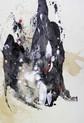 » 向 1 (Die Richtung 1) « 2002, Monotypie auf Büttenpapier, 75 x 56 cm, Unikat