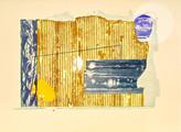 » am 13. April « 2015, Lithographie, Linolschnitt und Materialdruck auf Büttenpapier, 56 x 76 cm, Aufl. 4