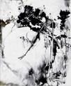 » 七月  ノ  アクビ (Gähnen im Juli) « 2002, Monotypie auf Büttenpapier, 40 x 30 cm, Unikat