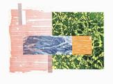 » in der Sonne 2 « 2013, Radierung, Linolschnitt und Materialdruck auf Büttenpapier, 40 x 60 cm, Aufl. 4