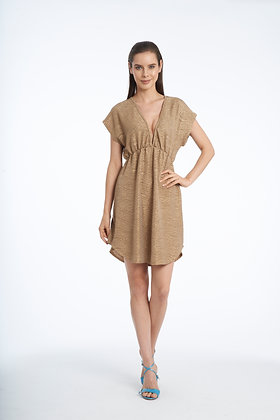 Jordan Taylor Bronze Cap Sleeves V-Neck Tunic