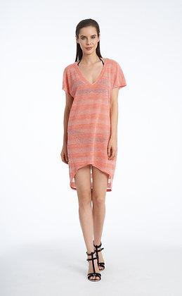 Jordan Taylor Coral Cap Sleeve High-Low Tunic
