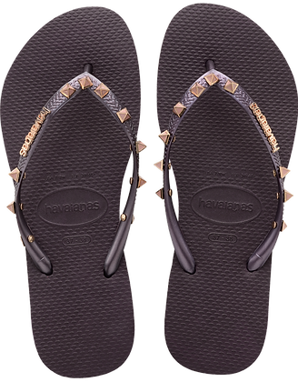 Havaianas Aubergine Slim Hardware Flip-Flops