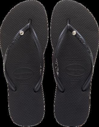 Havaianas Black Slim Crystal Glam Flip-Flops