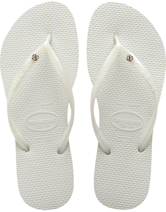 Havaianas White Slim Crystal Glam Flip-Flops