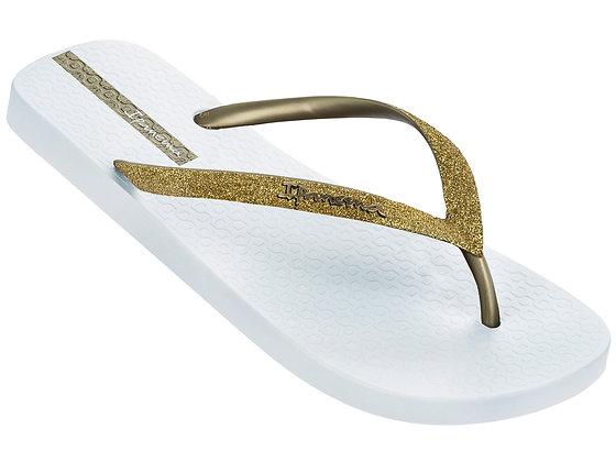 Ipanema Glitter II Flip Flops in White/Gold