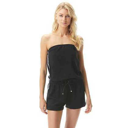 Michael By Michael Kors Solid Logo Strapless Romper